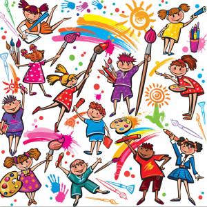 bambini-felici-che-disegnano-con-la-spazzola-ed-i-pastelli-variopinti-29891027