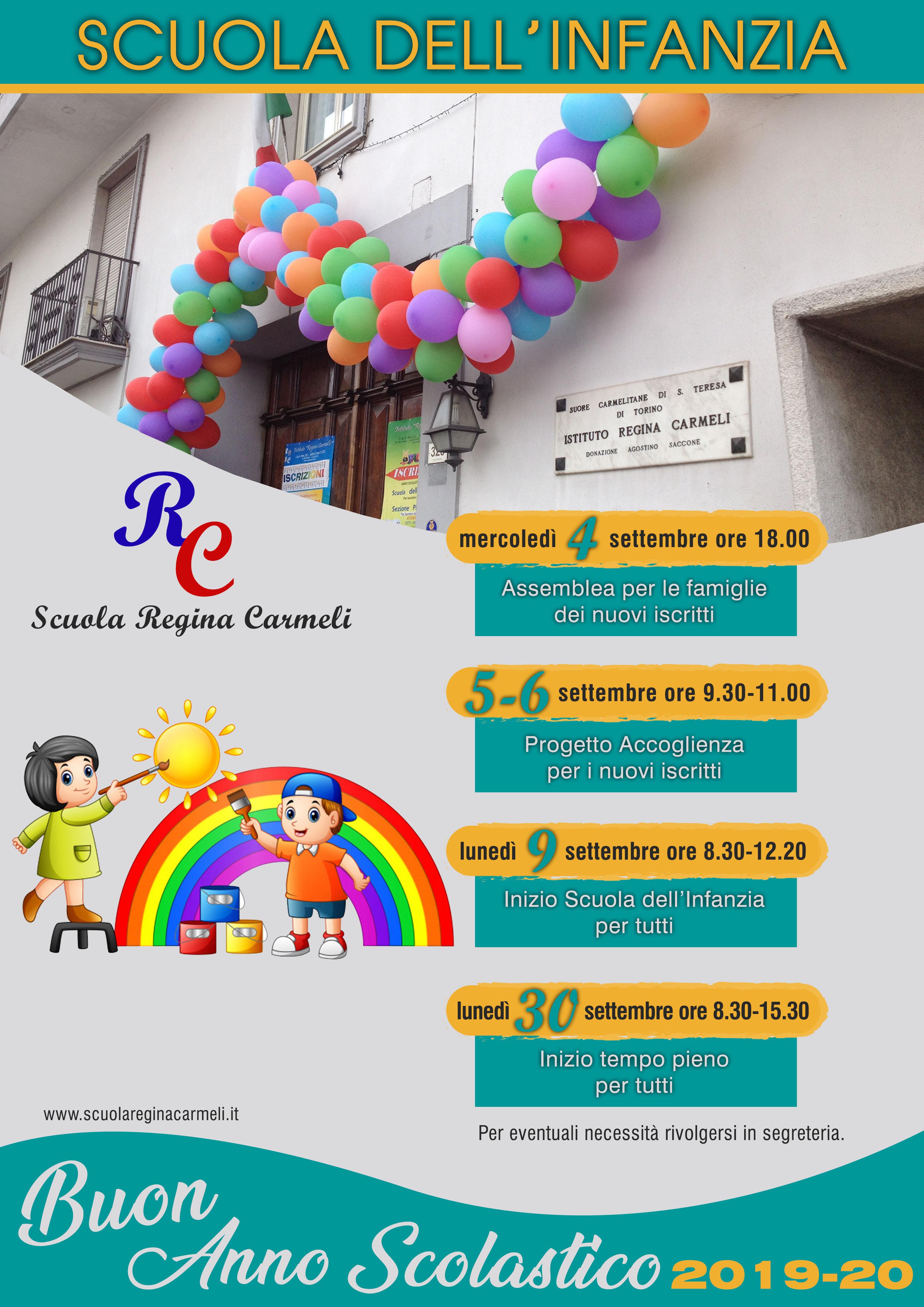 Calendario Del Tempo Scuola Infanzia.Scuola Paritaria Regina Carmeli